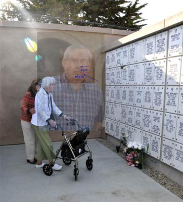 Dad's photo for obituary overlayed on photo